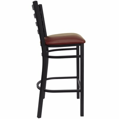 Dryden Modern 31 Bar Stool with Cushion Upholstery: Black/Burgundy