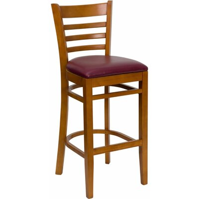 Dryden 31 Wood Bar Stool with Cushion Upholstery: Cherry/Burgundy