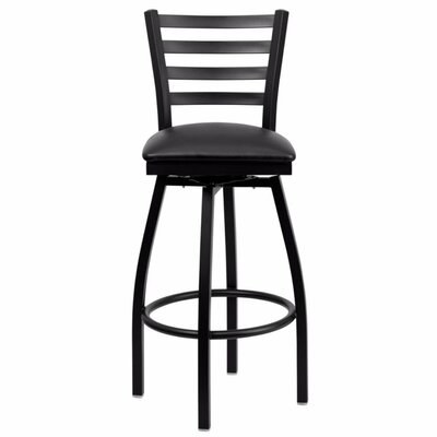 Dryden 32 Swivel Bar Stool with Cushion Upholstery: Black