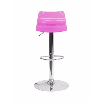 Aguon Transparent Acrylic Adjustable Height Swivel Bar Stool Color: Hot Pink