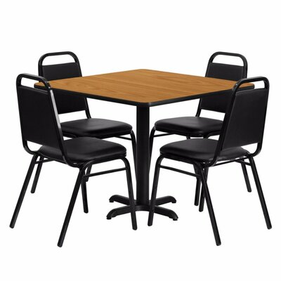 Alvarado Square Laminate 5 Piece Solid Back Dining Set Finish: Black/Natural
