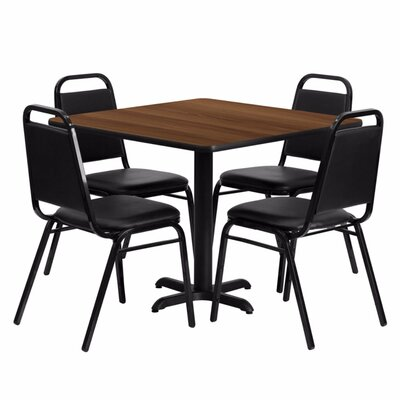 Alvarado Square Laminate 5 Piece Solid Back Dining Set Finish: Black/Walnut
