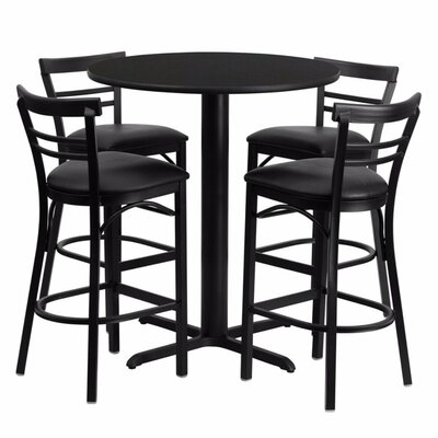 Alvarez Round Laminate 5 Piece Pedestal Pub Table Set Color: Black
