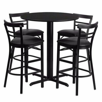 Alvarez Round Laminate 5 Piece Pedestal Pub Table Set Finish: Black