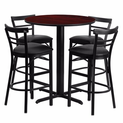 Alvarez Round Laminate 5 Piece Pedestal Pub Table Set Finish: Black/Mahogany