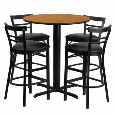 Alvarez Round Laminate 5 Piece Pedestal Pub Table Set Finish: Black/Natural