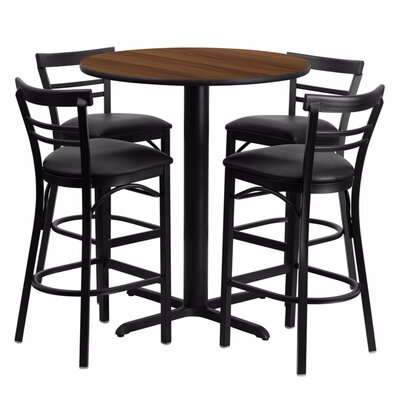 Alvarez Round Laminate 5 Piece Pedestal Pub Table Set Color: Black/Walnut