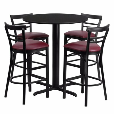 Alvarez Modern Round Laminate 5 Piece Pub Table Set Color: Black