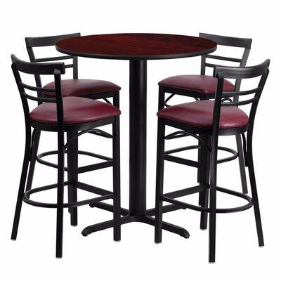 Alvarez Modern Round Laminate 5 Piece Pub Table Set Color: Black/Mahogany