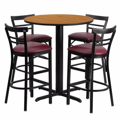 Alvarez Modern Round Laminate 5 Piece Pub Table Set Finish: Black/Natural
