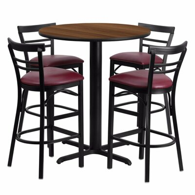 Alvarez Modern Round Laminate 5 Piece Pub Table Set Finish: Black/Walnut