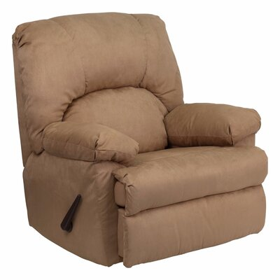 Amandes Contemporary Microfiber Suede Rocker Recliner Upholstery : Brown