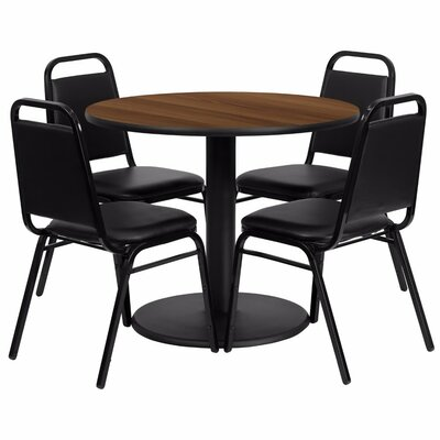 Amato Modern Round 5 Piece Dining Set Finish: Black/Walnut