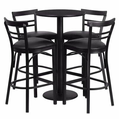 Alvarez Modern Round Laminate 5 Piece Pedestal Pub Table Set Finish: Black