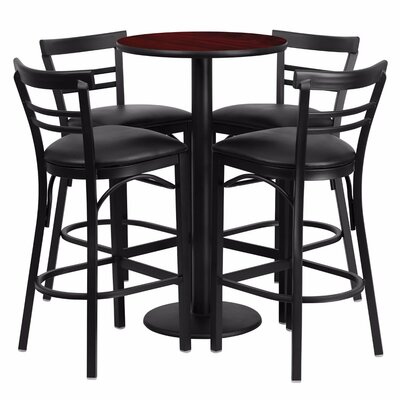 Alvarez Modern Round Laminate 5 Piece Pedestal Pub Table Set Color: Black/Mahogany