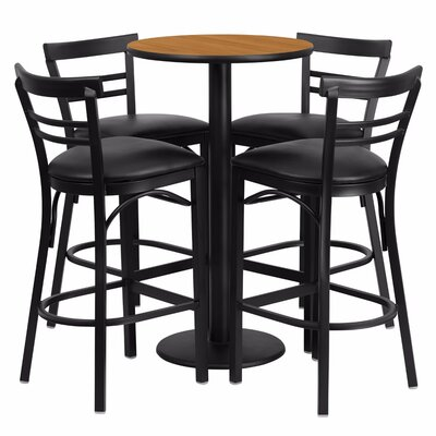 Alvarez Modern Round Laminate 5 Piece Pedestal Pub Table Set Color: Black/Natural