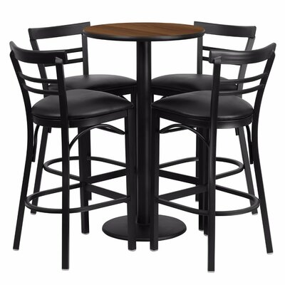 Alvarez Modern Round Laminate 5 Piece Pedestal Pub Table Set Color: Black/Walnut