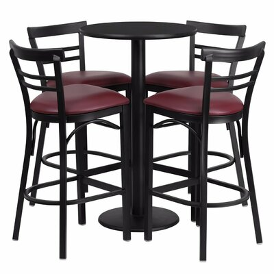 Alvarez Round Laminate 5 Piece Upholstered Pub Table Set Color: Black