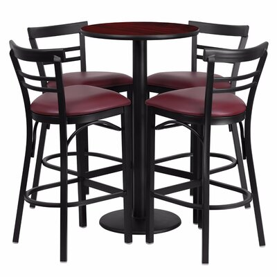 Alvarez Round Laminate 5 Piece Upholstered Pub Table Set Color: Black/Mahogany