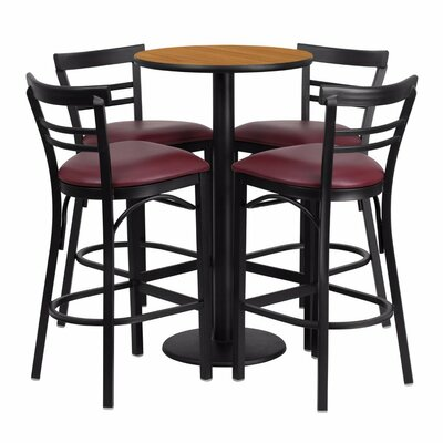 Alvarez Round Laminate 5 Piece Upholstered Pub Table Set Color: Black/Natural