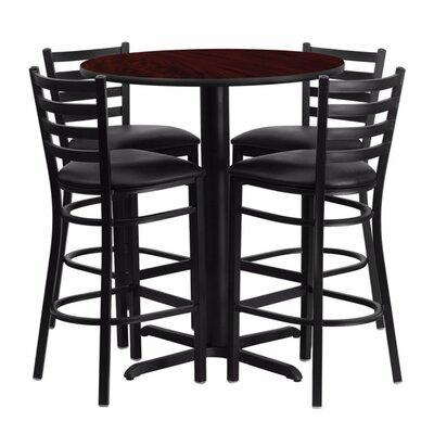 Alvarez Modern Round Laminate 5 Piece Upholstered Pub Table Set Color: Black/Mahogany