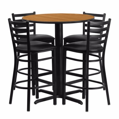 Alvarez Modern Round Laminate 5 Piece Upholstered Pub Table Set Color: Black/Natural