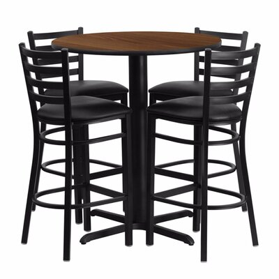 Alvarez Modern Round Laminate 5 Piece Upholstered Pub Table Set Color: Black/Walnut