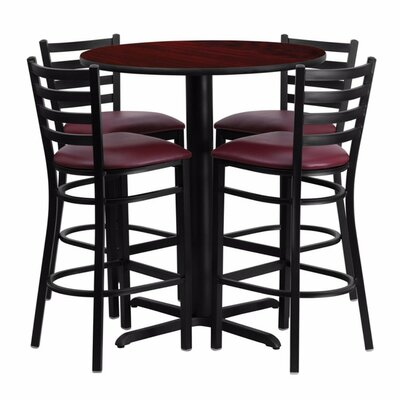 Alvarez Round Laminate 5 Piece Upholstered Pedestal Pub Table Set Color: Black/Mahogany