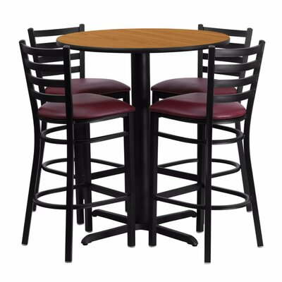 Alvarez Round Laminate 5 Piece Upholstered Pedestal Pub Table Set Color: Black/Natural