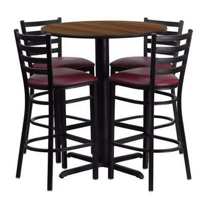 Alvarez Round Laminate 5 Piece Upholstered Pedestal Pub Table Set Finish: BlackWalnut