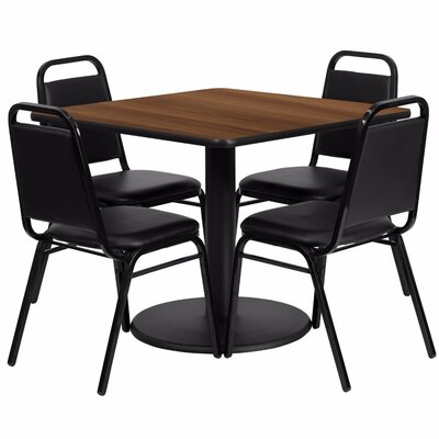 Alvarado Square Laminate 5 Piece Pedestal Dining Set Finish: Black/Walnut