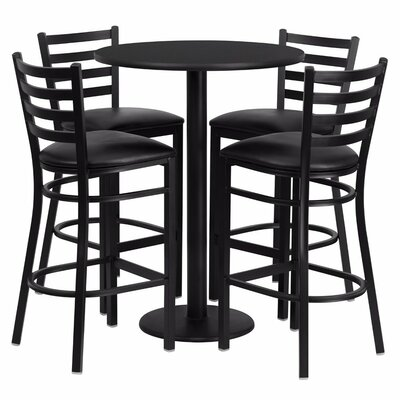 Alvarez Round Laminate 5 Piece Ladder Back Pub Table Set Finish: Black