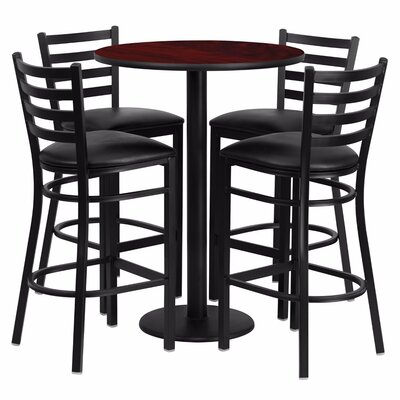 Alvarez Round Laminate 5 Piece Ladder Back Pub Table Set Color: Black/Mahogany