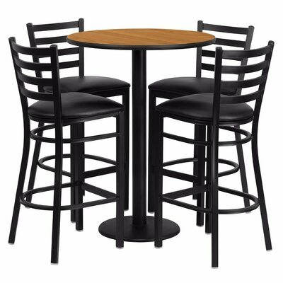 Alvarez Round Laminate 5 Piece Ladder Back Pub Table Set Color: Black/Natural