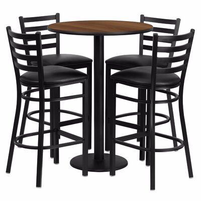 Alvarez Round Laminate 5 Piece Ladder Back Pub Table Set Color: Black/Walnut