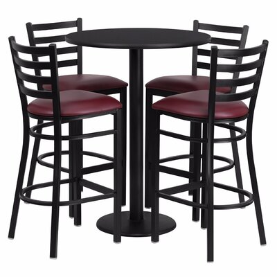 Alvarez Round Laminate 5 Piece Pub Table Set Color: Black