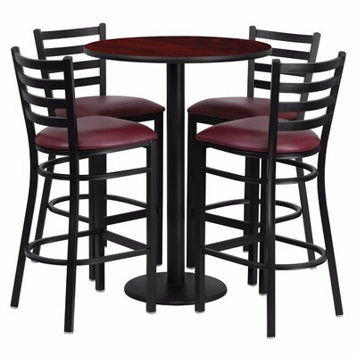 Alvarez Round Laminate 5 Piece Pub Table Set Finish: Black/Mahogany