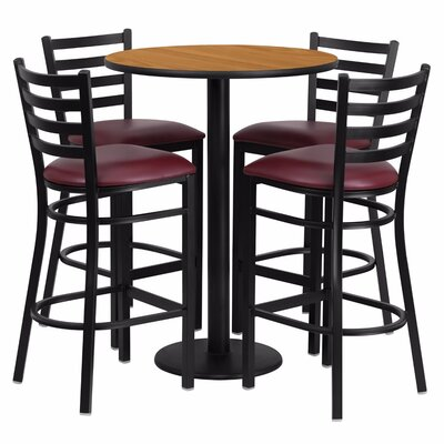 Alvarez Round Laminate 5 Piece Pub Table Set Finish: Black/Natural