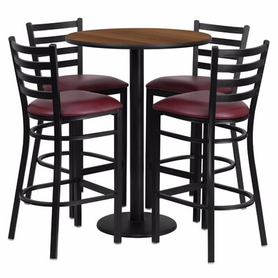 Alvarez Round Laminate 5 Piece Pub Table Set Finish: Black/Walnut