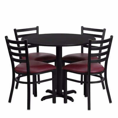 Camden Round Laminate Metal 5 Piece Dining Set Finish: Black