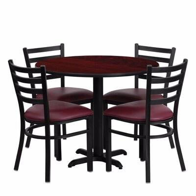 Camden Round Laminate Metal 5 Piece Dining Set Finish: Black/Mahogany