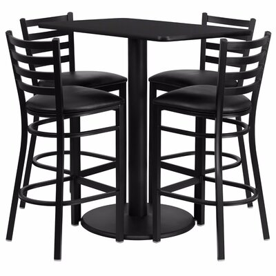 Catalpa 5 Piece Pub Table Set Color: Black