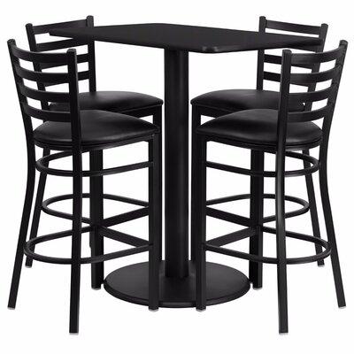 Catalpa Rectangular Laminate 5 Piece Pub Table Set Finish: Black