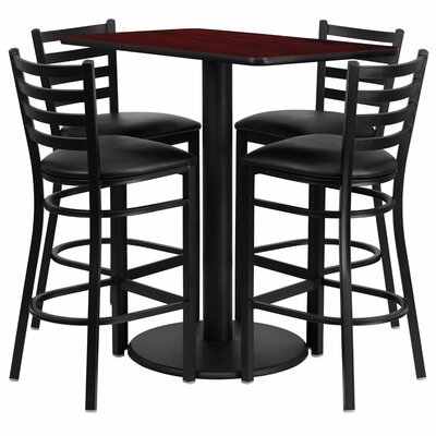 Catalpa 5 Piece Pub Table Set Color: Black/Mahogany