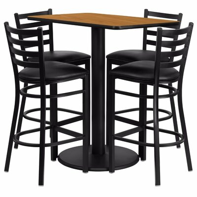 Catalpa 5 Piece Pub Table Set Color: Black/Natural