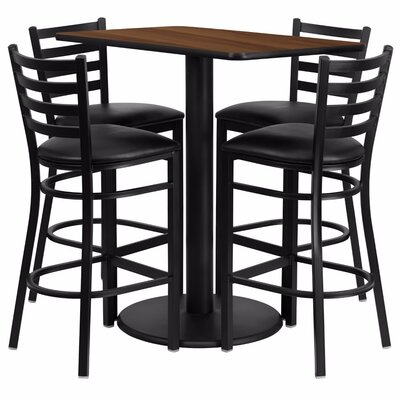 Catalpa 5 Piece Pub Table Set Color: Black/Walnut