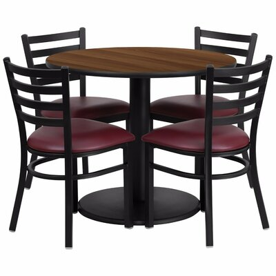 Amato Round Laminate 5 Piece Banquet Dining Set Finish: Black/Walnut