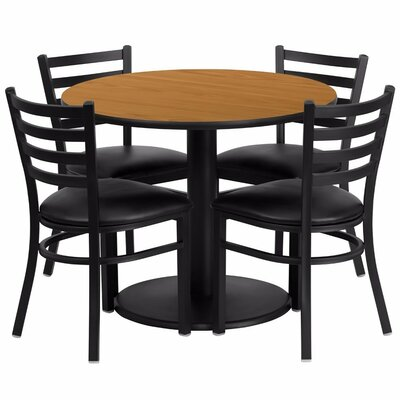 Amato Round 5 Piece Dining Set Finish: Black/Natural