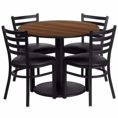 Amato Round 5 Piece Dining Set Finish: Black/Walnut