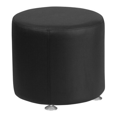 Acord Round Leather Ottoman Upholstery: Black
